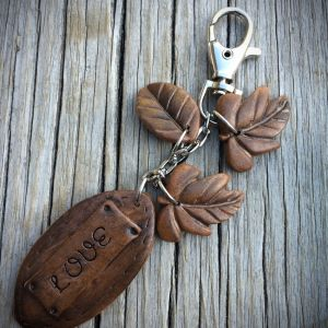 faux leather keychain