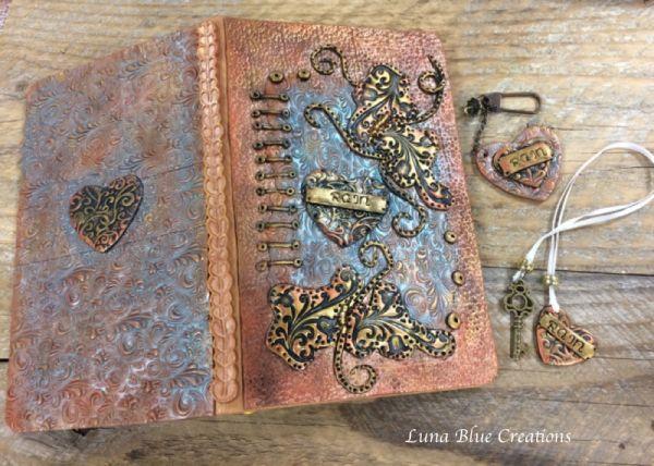 textured polymer clay journal